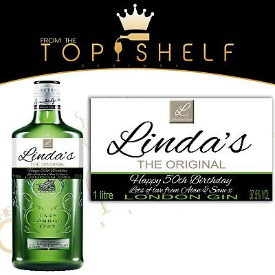 Personalised London Gin Bottle Label Birthday Any Occasion Gordons • 3£