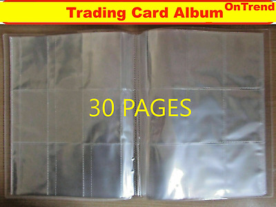 AU17.95 • Buy Clear HARD Cover Trading Card Album Folder Binder With 30 Pages 9 Pocket Sleeves