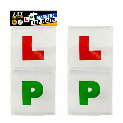 4pk Plates L&P Magnetic| New Learner Driver L-Plate Secure Just Pass P-Plate Set • 1.99£