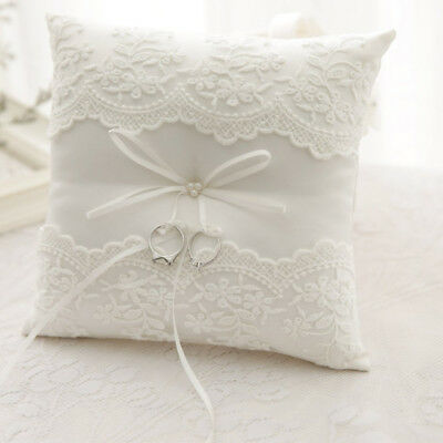 Ivory Lace Wedding Satin Bowknot Cushion Bearer Pillow Pearl Ceremony Ring Throw • 8.73£