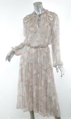 $750 • Buy ZIMMERMANN Pastel Floral STRANDED GARLAND Flowy Tiered Long Dress 0/4 NEW $950