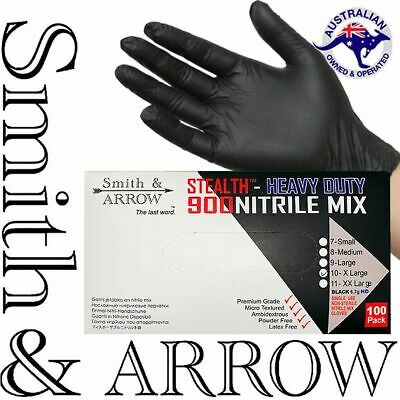 AU29.95 • Buy 100 / 600 X BLACK DISPOSABLE NITRILE GLOVES MECHANIC MEDICAL RUBBER (LATEX FREE)