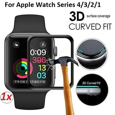 AU6.95 • Buy 3D Curved Apple Watch Series 4/3/2/1 Tempered Glass FULL COVER Screen Protector