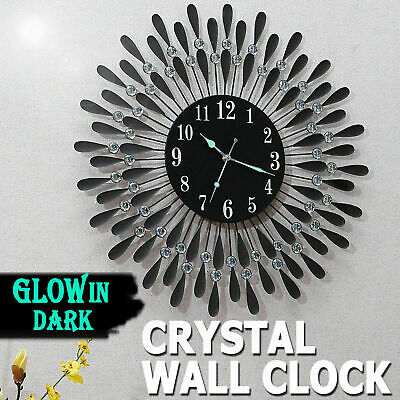 AU54.99 • Buy Large Modern 3D Crystal Wall Clock Luxury Round Dial Black Drops Home Office