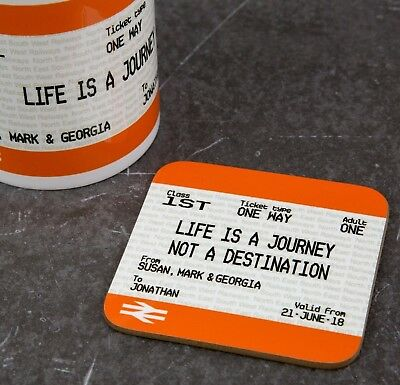 Personalised Custom Printed Train Ticket Coaster Graduation Gift Tea Coffee Mat • 4.90£