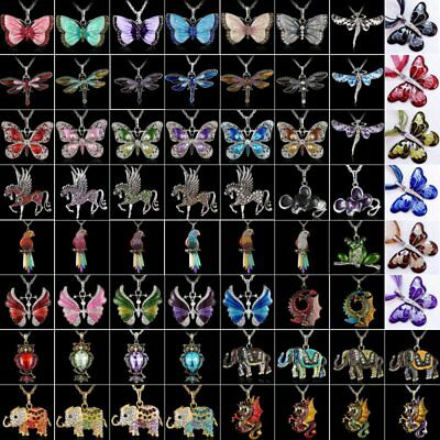 $1.36 • Buy Women Crystal Rhinestone Butterfly Horse Animal Pendant Necklace Chain Jewelry