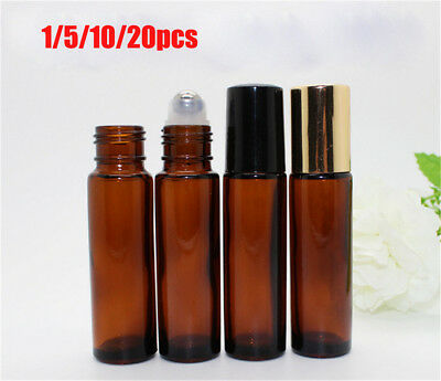 AU9.65 • Buy 1-20 10ml Roll On Glass Bottle Essential Oil Perfume Roller Ball Bottle With Cap