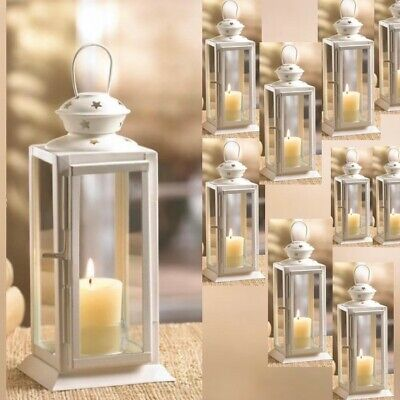 $89.77 • Buy Lot Of 10 Lantern 8  Small White Candle Holder Wedding Centerpieces