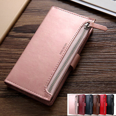 AU12.99 • Buy For IPhone 11/Pro/Max XS XR X 8/7 Zipper Leather Wallet Case Card Magnetic Cover