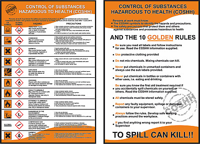 £3.95 • Buy COSHH HEALTH AND & SAFETY 2 X LAMINATED A4 WORKPLACE POSTERS