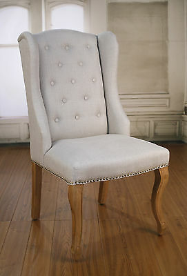 AU3592 • Buy 8 X Dining Chairs French Provincial Oak And Linen Bedroom Decor Chair Brand New