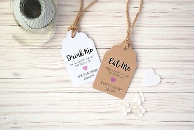 £2.50 • Buy Drink Me Or Eat Me Personalised Wedding Favour Tags With Rustic Twine