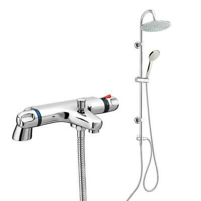 Thermostatic Deck Mounted Bath Mixer Valve Tap Overhead Riser Rain Shower Kit • 44.99£