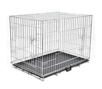 View Details XL Foldable Metal Dog Cage Strong Folding Pet Bench Flat Pack Animal Carrier • 66.99£