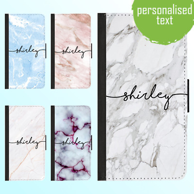 AU13.99 • Buy  IPhone 11 Pro Max Xs XR 8 Leather Flip Wallet Case Marble IV Personalised Name