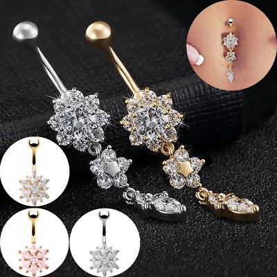 £3.99 • Buy Belly Bar Navel Button Ring Crystal Gem Dangly Gem Surgical Steel Body Jewellery