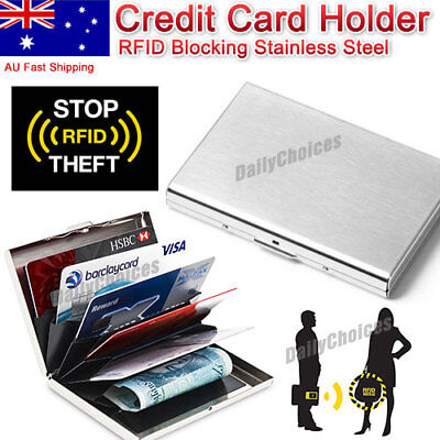 AU6.75 • Buy New Deluxe Wallet ID Credit Card Holder Anti RFID Blocking Stainless Steel Case