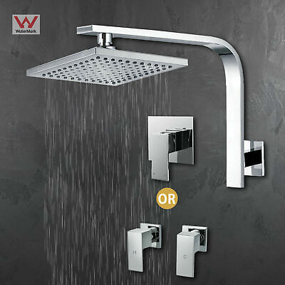 AU64.98 • Buy Square Shower Head 8  Brass Gooseneck Wall Arm Mixer Hot Cold Taps Chrome WELS