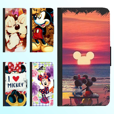 AU13.99 • Buy IPhone 11 Pro Max XS X XR 8 Leather Flip Wallet Case Disney Mickey Minnie Cover