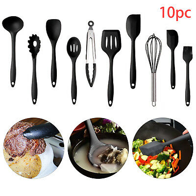 £11.59 • Buy 10pcs Silicone Kitchen Utensils Cookware Set Nonstick Baking Cooking Spoon Tools