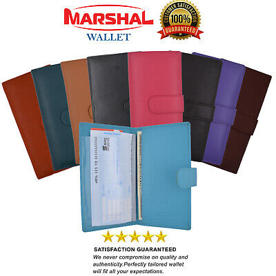 $9.99 • Buy Slim Genuine Leather Checkbook Cover With Snap Closure For Extra Security COLORS