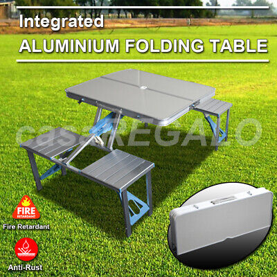 AU68.76 • Buy Folding Camping Table + 4 Chairs Set Portable Picnic Outdoor Garden BBQ Setting