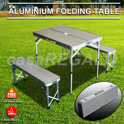 AU69.25 • Buy Outdoor ALUMINIUM FOLDING CAMPING TABLE AND CHAIRS PICNIC SET WITH 2 BENCH SEATS
