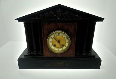 £89.99 • Buy Antique French Black Marble Slate Mantel Clock 17  Wide 12 1/2  Tall Roman Theme