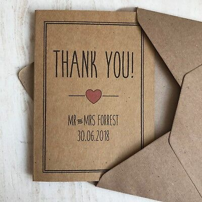 £6 • Buy Personalised Wedding Thank You Cards Colour Choice Rustic Vintage Kraft