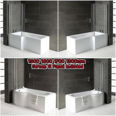 L Shaped P Shape Bath Tubs Screen Panel 1500 1600 1700 1800 Left Right Hand UK  • 249.95£