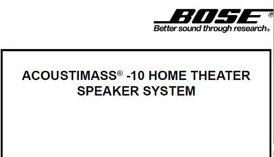 Bose Acoustimass 10 Home Theater Speaker System Service Manual Book English • 15.99£