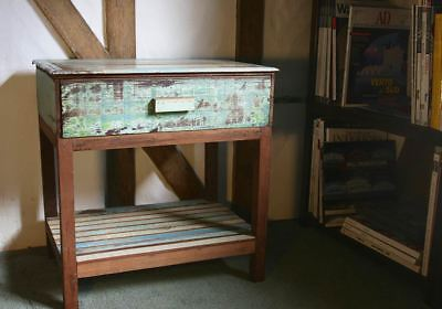 Rustic Beach Handmade Reclaimed Bedside Table Single Drawer Antique Pastel • 65£