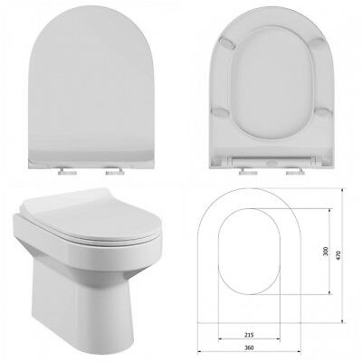 £19.49 • Buy Quick Release D Shaped Slimline Soft Close Toilet Seat Sea005