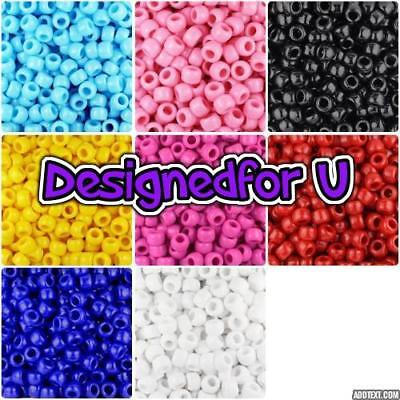 *3 FOR 2*   100 9x6mm Opaque Barrel Highest Amazing Quality Pony Beads  • 2.50£