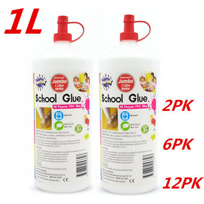 AU44.95 • Buy 1L PVA White Glue All Purpose Non Toxic Washable Slime Make Craft Scrapbook WMCV