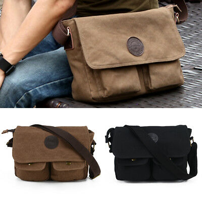 Mens Canvas Shoulder Messenger Bag Vintage Military Satchel Briefcase Handbag • 7.99£