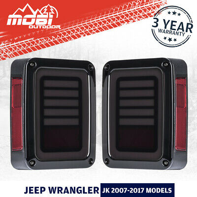 AU95.99 • Buy Pair LED Tail Lights Reverse Indicator OEM 07-17 Jeep Wrangler JK Smoked Black