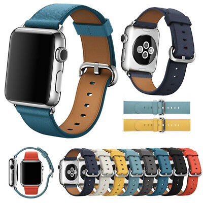 AU10.88 • Buy Leather Watch Band Strap Bracelet +Classic Buckle For Apple Watch Series 5 4 3 2