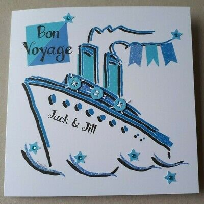 £3.50 • Buy Personalised Handcrafted Good Luck Bon Voyage Card Cruise Ship Family Friends