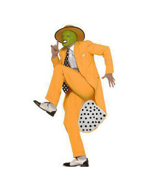 The Mask Jim Carrey Fancy Dress Deluxe 90s Gangster Zoot Suit Costume W/Mask!! • 43.99£