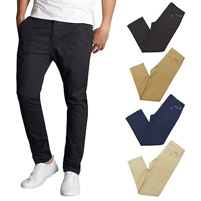 $18.97 • Buy Mens Chino Pants Cotton Stretch Slim Fit Belt Zip Fly Trouser Casual Work School