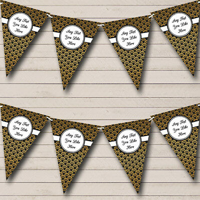Party Banner Bunting Black And Gold Personalised Wedding Anniversary • 7.29£