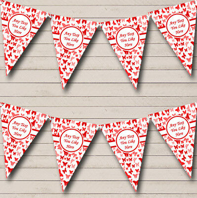 Party Banner Bunting Beautiful Red Butterfly Personalised Shabby Chic Garden Tea • 7.29£