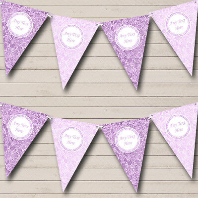 Party Banner Bunting Vintage Lilac And Cadbury Purple Floral Wedding • 7.29£