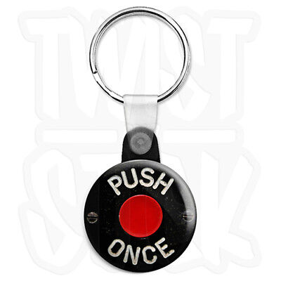 Push Once Retro Bus Bell Button - 25mm Keyring Button Badge With Zip Pull Option • 2.25£