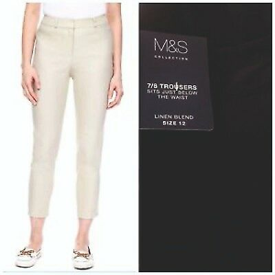 £7.95 • Buy Ladies Linen 3/4 Cropped Trousers Ankle Grazer Cotton EX M&S Slim Fit Crop NEW
