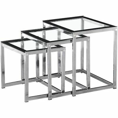 Seconique - Henley Living Room Nest Of Tables - Clear & Black Glass With Chrome • 84.95£
