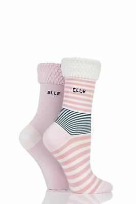 Ladies 2 Pair Elle Striped Bamboo Socks With Comfort Cuff • 8.99£