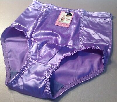 $12.99 • Buy Women Panties,Control Panties Anne Diane Size L.Violet Satin W/2 Secret Pockets