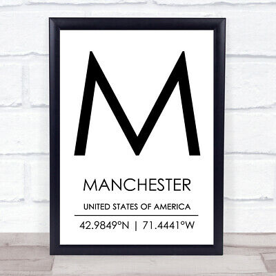 Manchester United States Of America Coordinates Travel Quote Wall Art Print • 6.95£